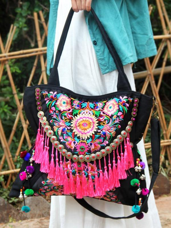 Bohemian Ethnic Handmade Tassel Canvas Embroidery Lagre Shoulder Bags