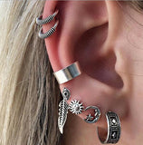 Bohemian Style Silver Color Earring Set Punk Style Vintage Hoop Earrings Ear Clip For Women 7 Pcs Set