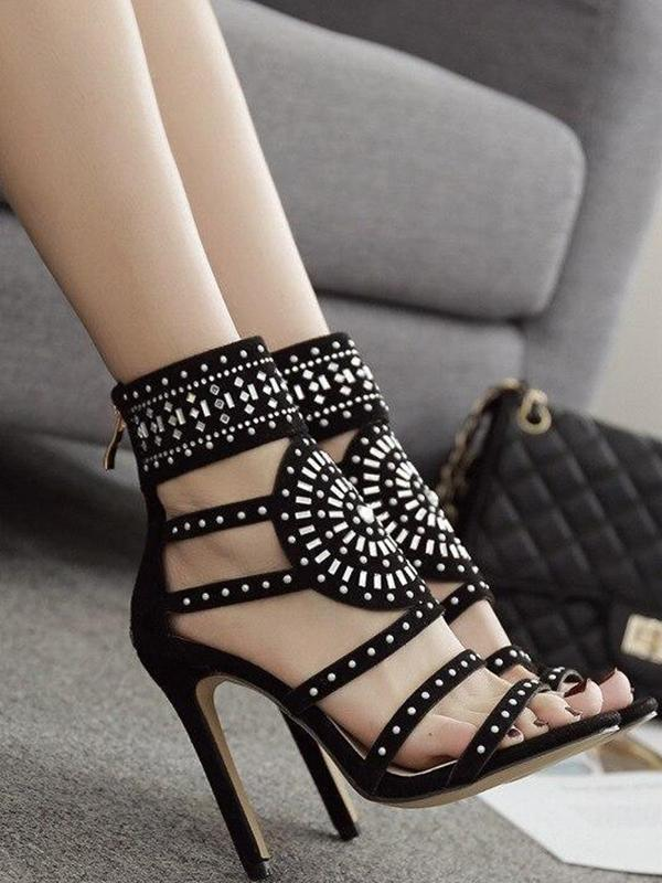 Sexy Rhinestone Gladiator High Heel Pumps Party Shoes Sandals