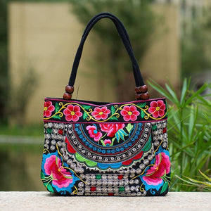Handmade Tibet Style Embroidery Ethnic Canvas Shoulder Bags
