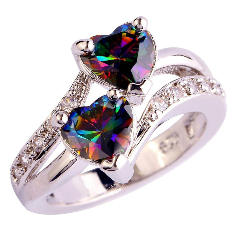 Susenstone Fashion Lover Double Heart Cut Rainbow For Women Wedding Silver Color Ring