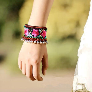 Colorful Floral Embroidery Cute Silvery Bells Beads Wide Fabric Bangles Bracelet Handmade Ethnic Jewelry