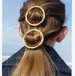 Vintage Round Hair Clip Pin Metal Geometric Circle Hairgrip Jewelry