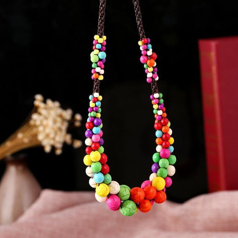 Bohemia Natural Stone Pendants Ethnic Handmade Colorful Rope Chain Beaded Choker Necklace