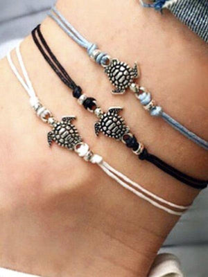 Summer Beach Turtle Shaped Charm Rope String Anklets For Women Ankle Bracelet Foot Jewelry