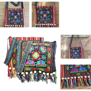 Linen Thai Embroidery Totes Shoulder Tassels National Tibet Floral Soft Bags