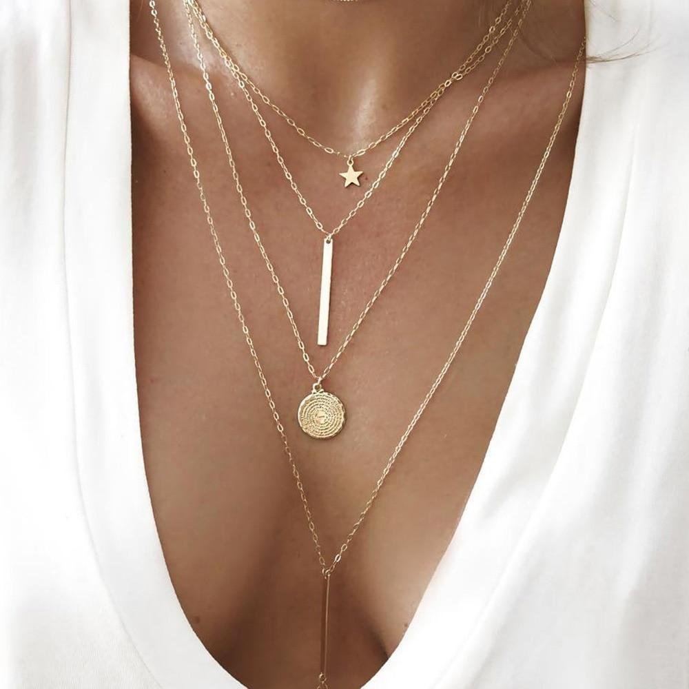 Bohemian Long Pendant Vintage Gold Star Multilayer Necklace Statement Jewelry