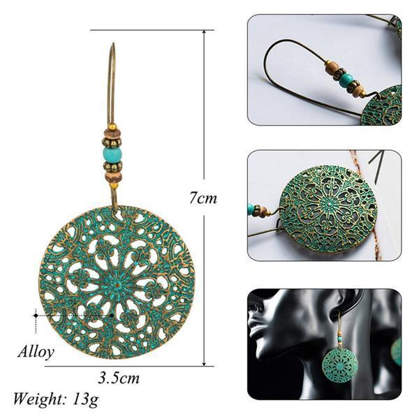 Hollow Round Flower Pattern Bohemian Statement Exaggerated antique Green metal Earrings