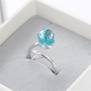Stylish Design Mermaid Foam Crystal Adjustable Women Silver Plating Finger Ring Jewelry