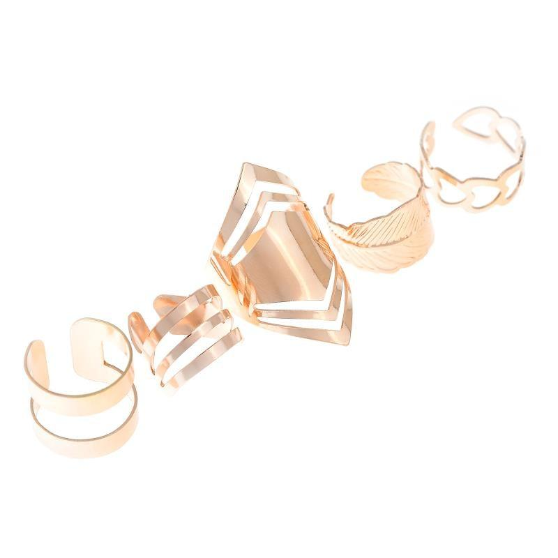 Fashion Punk 5pcs /Set Punk Zinc Alloy Material Golden Opening Rings Set Jewelry Accessories
