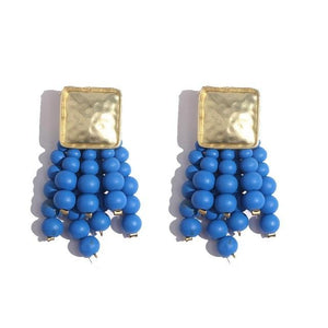 Long Beads Tassel Square Metal Handmade Charm Big Drop Earring - Voguetide