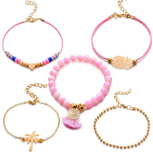 5 Pcs Set Boho Women Pineapple Tassels Dreamcatcher Heart Coconut Tree Chain Bead Leather Bracelet Set