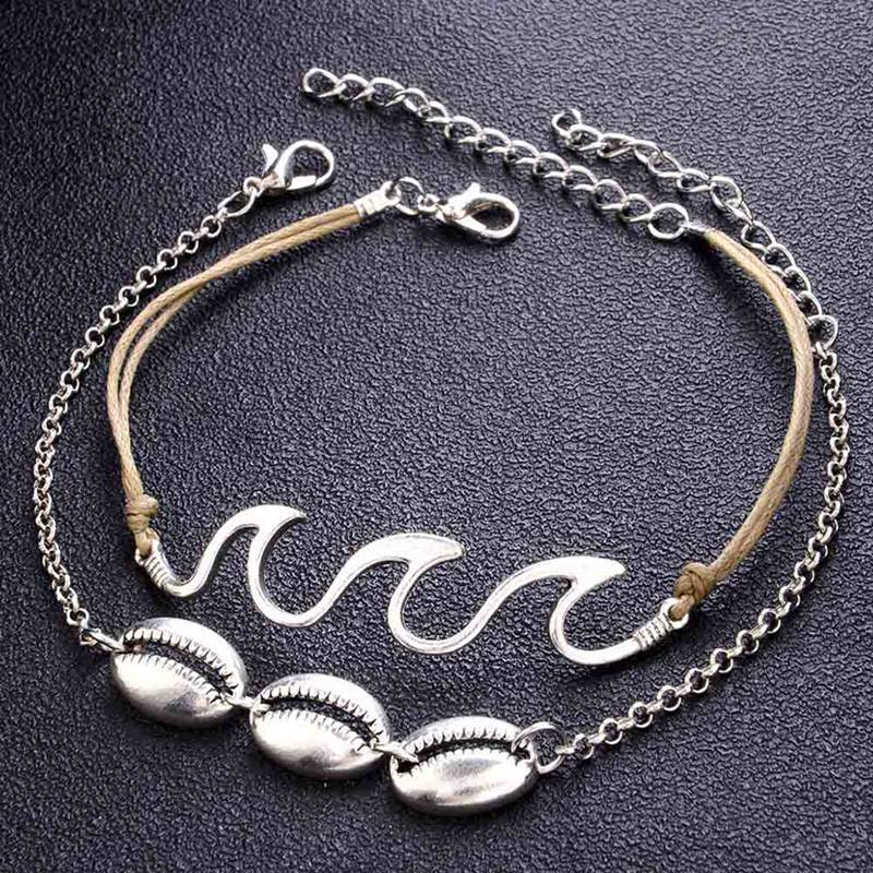 Bohemia Summer Beach Barefoot Shell Wave Pendant Chain Anklets Accessories