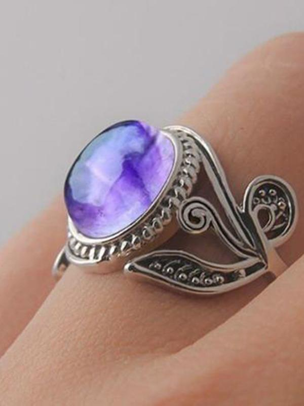 Vintage Style Purple Opals Carved Leaf Style Hollow Out Finger Ring Jewelry