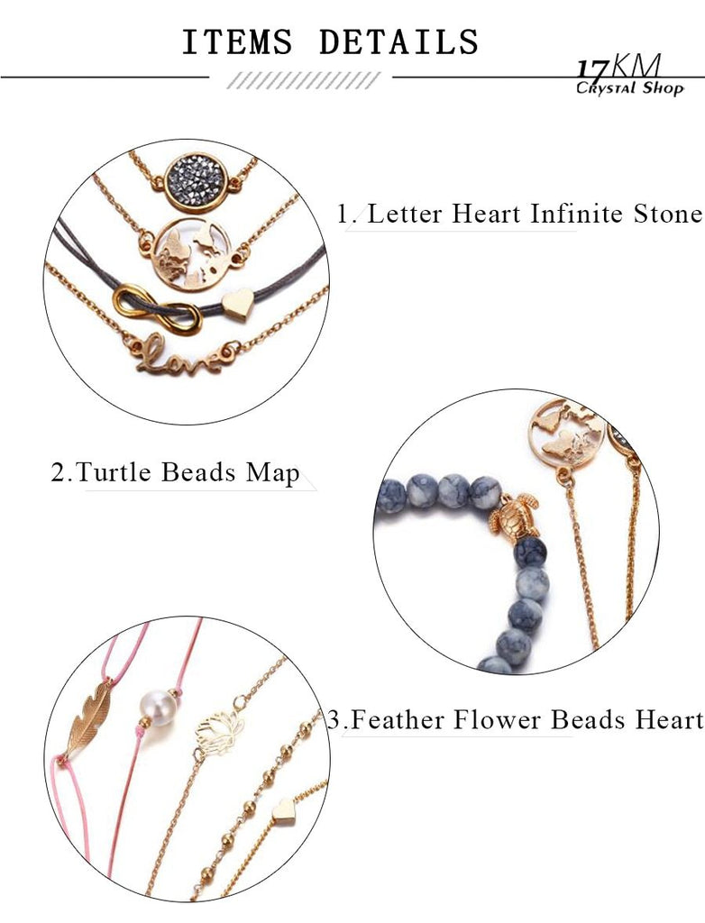 Vintage Turtle Heart Map Charm Beads Bracelet Set Boho Jewelry