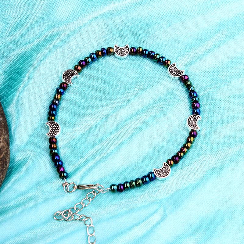 Bohemia Beads Vintage Leather Rope Leg Anklet Moon Sun Charm Beach Jewelry - Voguetide
