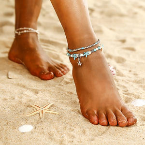 Bohemian Multiple Layers Starfish Turtle Beads Anklets For Women Vintage Boho Shell Chain Anklet Bracelet Beach Jewelry  B35