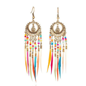 Bohemian Ethnic Long Statement Colorful Tassel Drop Resin Beads Fringe Earrings