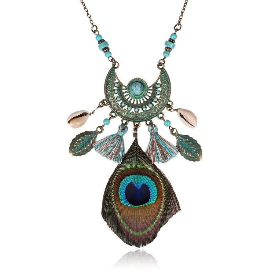 Boho Feather Tassel Shell Pendant Statement Necklace