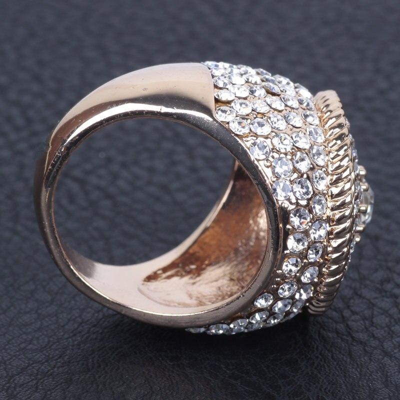 Luxury Cubic Zircon Gold Color Round Rings Jewelry