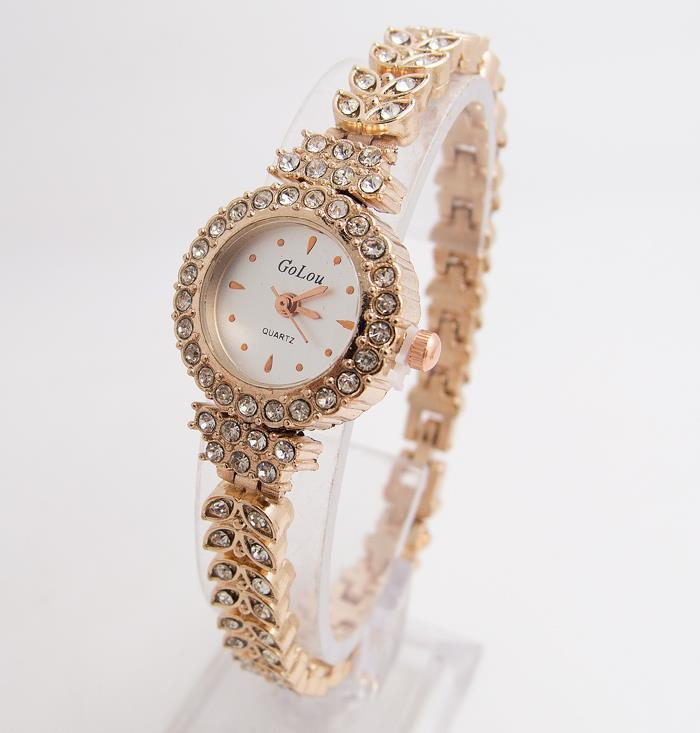 Shining Crystal Gold Bracelet Watches Wristwatch Rhinestone Watch