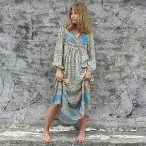 Casual Boho V-Neck Tassel Elastic Cuff Beach Maxi Dress