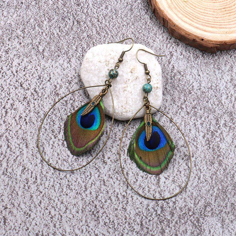 Boho Vintage Feather Peacock Metal Circle Earring Jewelry