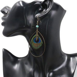 Boho Vintage Feather Peacock Metal Circle Earring Jewelry - Voguetide