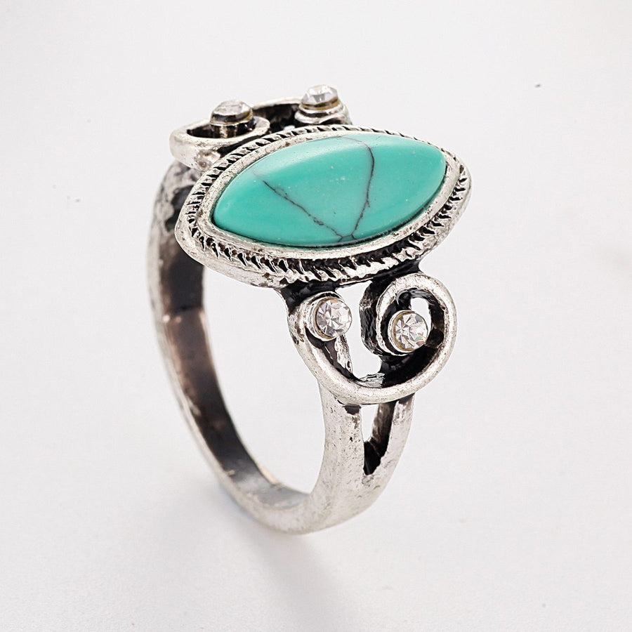 Vintage Green Stone Metal Rings Wedding Ring Jewelry