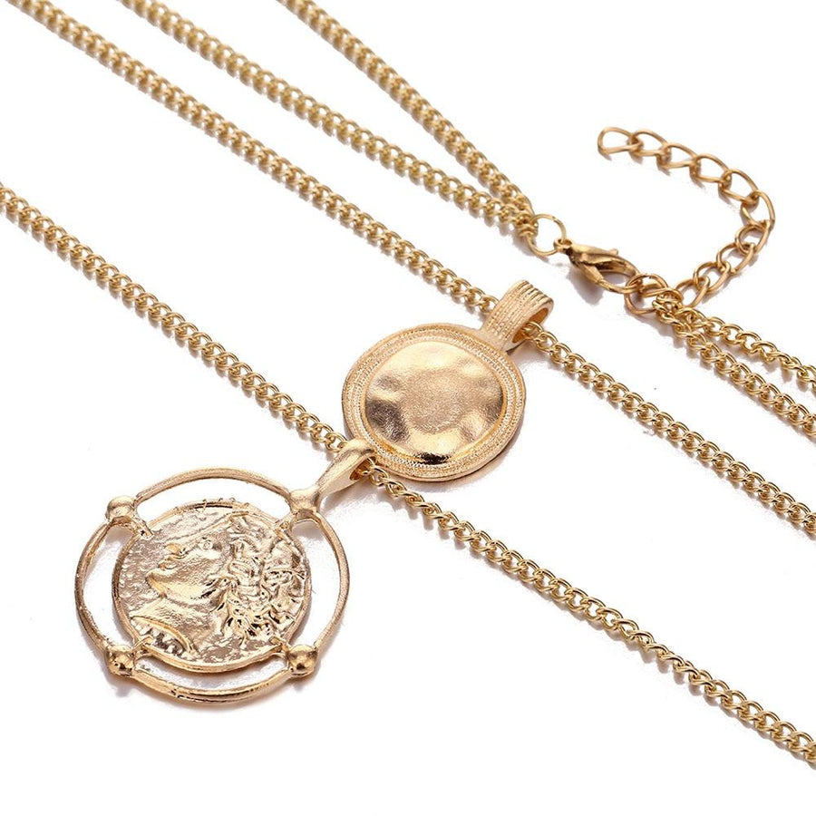 Ailend pendant necklace bohemian female double-layer necklace retro gold carved coin necklace jewelry - Voguetide