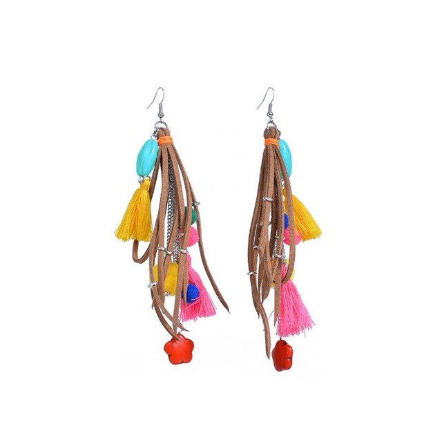 Vintage Ethnic Long Tassel Stone Faux Suede Fabric Colorful Bohemian Earrings - Voguetide