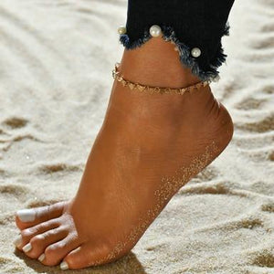 Summer Barefoot chain Beach Anklets Hollow Out Water Droplet Shape Multi-storey Foot Fashion Jewelry
