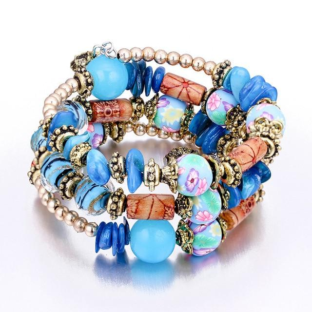 Vintage Ethnic Multi-layer Big beads Bracelets Boho Statement Flower Bracelet Bangles Jewelry