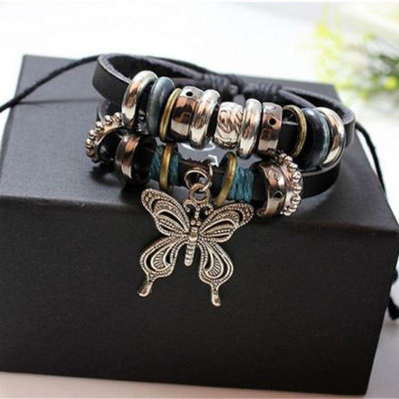 1PCS Fashion Women Men Vintage Multilayer Butterfly Wood Bead Leather Braided Strand Bracelet - Voguetide