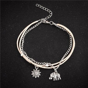 Vintage Star Elephant Boho Pendent Double Layer Beach Anklet Foot Jewelry