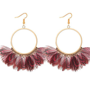 Trendy Korean Exaggerated Retro Peacock Feather Wild Earrings