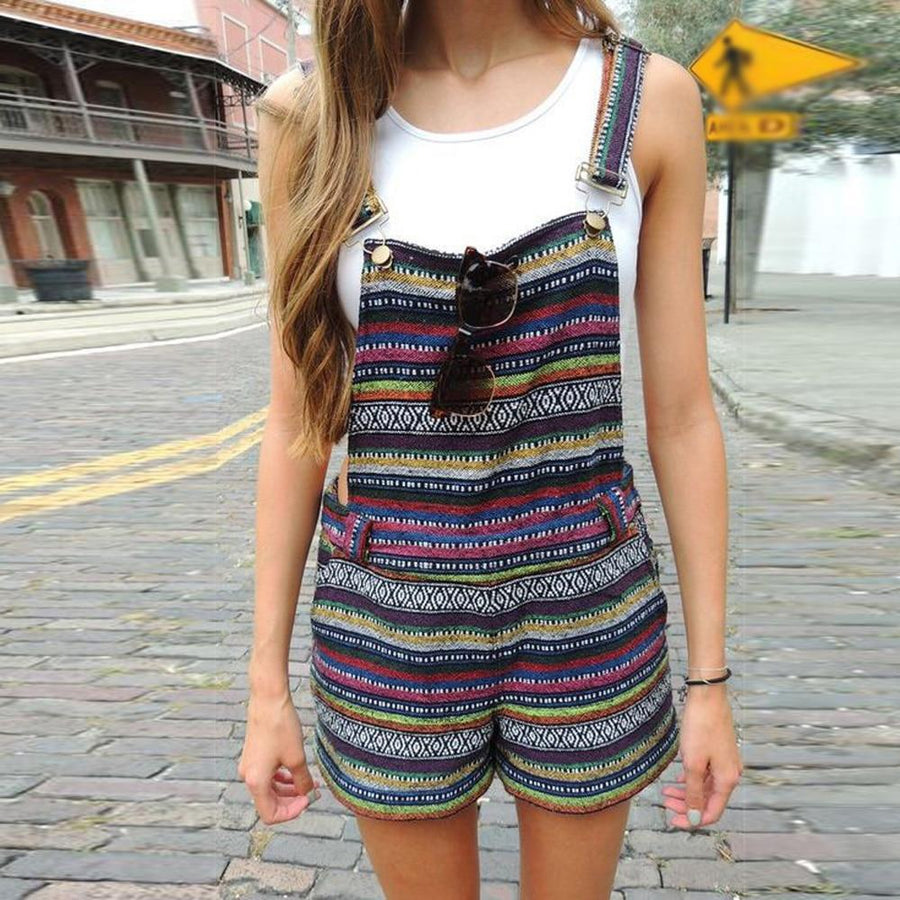 Bohemian Vintage Striped Boho Rompers Jumpsuit Shorts