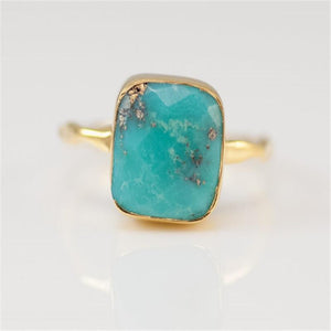 Natural Square Green Blue Stone Bohemia Style Gold Color Rings