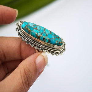 Vintage Look Tibet Alloy Antique Silver Plated Personality Green Oval Turquoise Ring