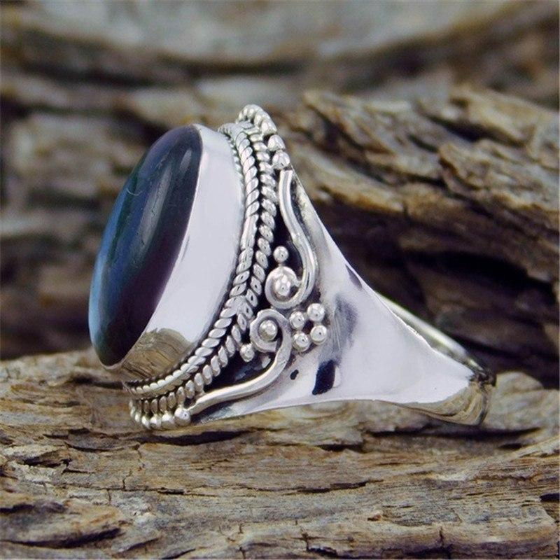 Vinatge Anillos Silver Color Oval Rings for Women
