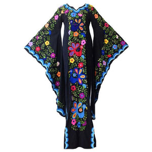 Bohemian Black Vintage Floral Split V-neck Flare Sleeve Party Maxi Dress