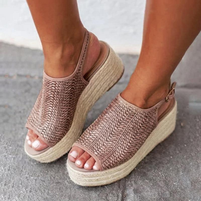 Comfortable Summer Hemp Wedge Heels Sandals  Platform Beach Shoes
