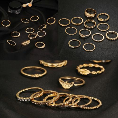 Vintage Women Girls 12pcs Retro Bohemian Gold Tone Ring Set