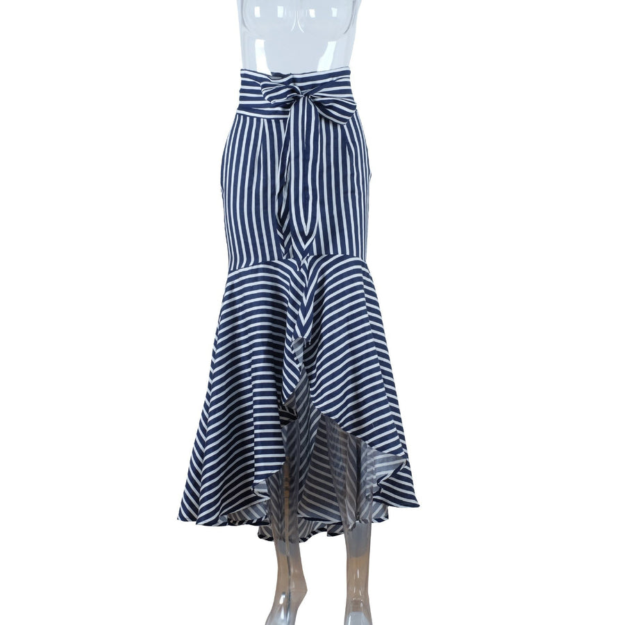 Vintage Irregular Ruffle Blue Striped High Waist Bow Tie Long Skirt