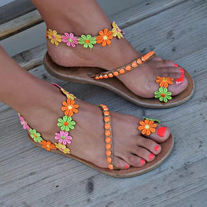 Summer Woman Colorful flowers bohemian ethnic style sandals