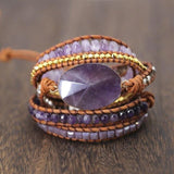 Handmade Leather Wrap Dream Purple Beads Wrap Bracelets Boho Chic Bangles