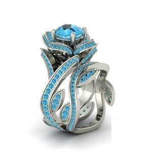 Creative Rose Flower Zircon Crystal Rings Jewelry
