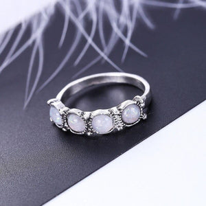 8PCS Oval Natural Stone Women Vintage Retro Color Rings