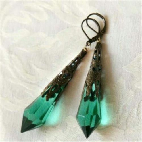 Vintage Green Crystal Natural Stone Drop Dangle Hook Stud Earrings