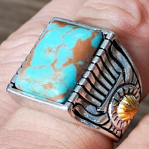 Vintage Antique Green Stone Fashion Jewelry Blue Turquoises Finger Ring